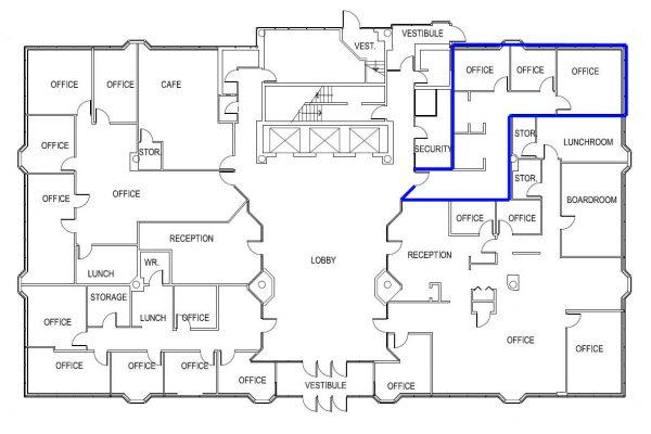 1st Floor (955 sqft) Full Floor - Unit Highlighted